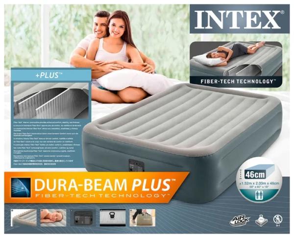 Intex, Надувная кровать Essential Rest Airbed 152х203х46см, встроенный насос 220V, уп.2 (2)