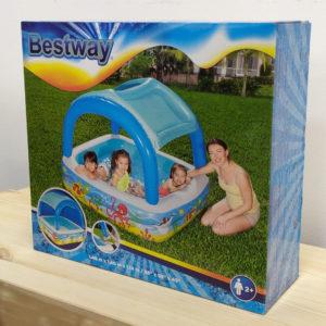 Детский надувной бассейн Bestway 52192 (140х140х114 см) 265л с навесом от солнца